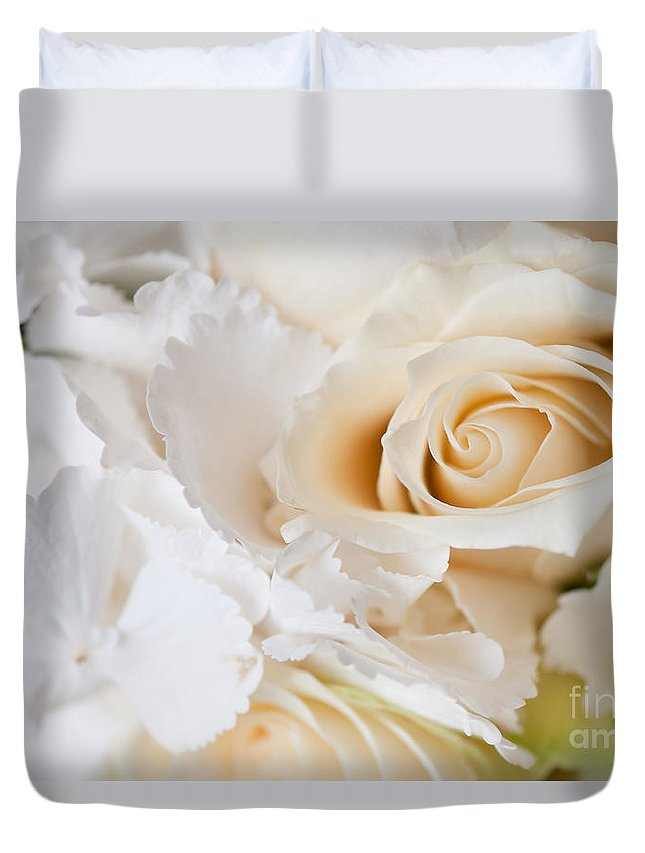 Bouquet Duvet Cover featuring the photograph Wedding White Flowers by Arletta Cwalina