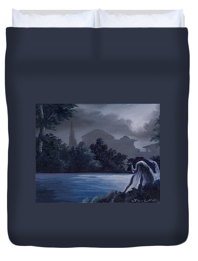 Graveyard Duvet Cover featuring the painting Weeping Angle by James Christopher Hill