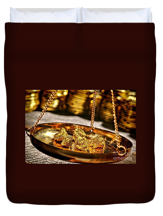 Gold Duvet Cover featuring the photograph Weighing Gold by Olivier Le Queinec