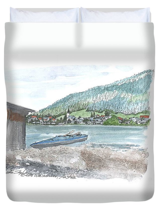 Landscape Duvet Cover featuring the drawing Weissensee Canoo by Petra Stephens