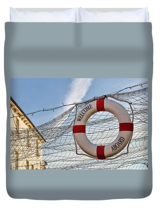 Lyme-regis Duvet Cover featuring the photograph Welcome Aboard by Susie Peek