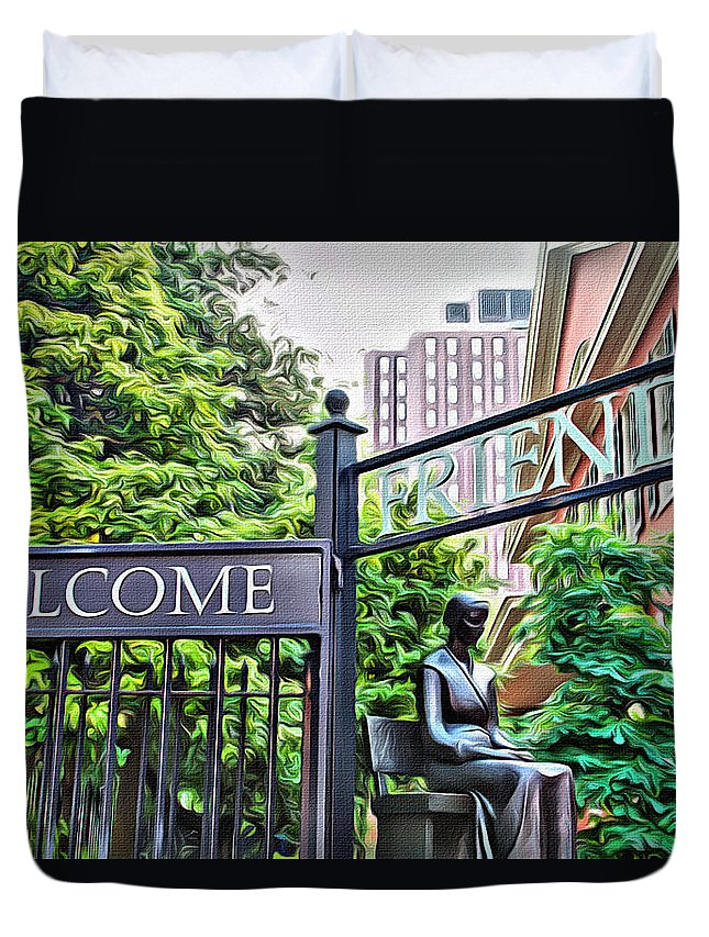 Friends Duvet Cover featuring the photograph Welcome Friends by Alice Gipson
