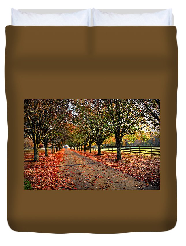 Reid Callaway Welcome Home Duvet Cover featuring the photograph Welcome Home Bradford Pear Lined Drive-way by Reid Callaway