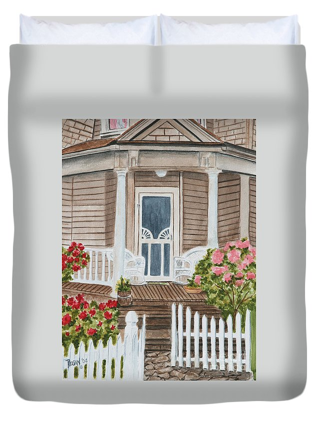 Architecture Duvet Cover featuring the painting Welcome by Regan J Smith