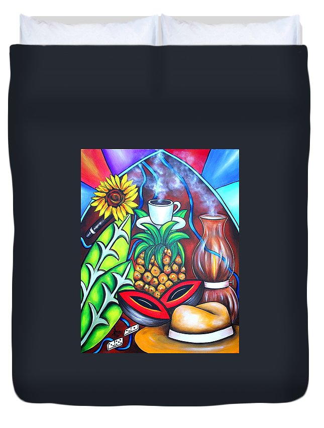 Cuban Paintings Duvet Cover featuring the painting Welcome To Here And Now by Annie Maxwell