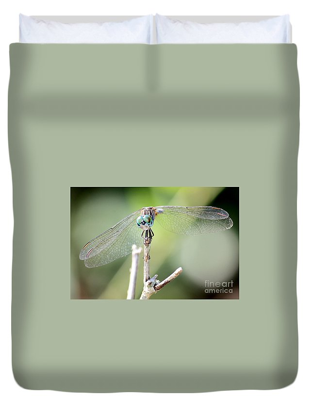 Macro Duvet Cover featuring the photograph Welcome To My World Dragonfly by Carol Groenen