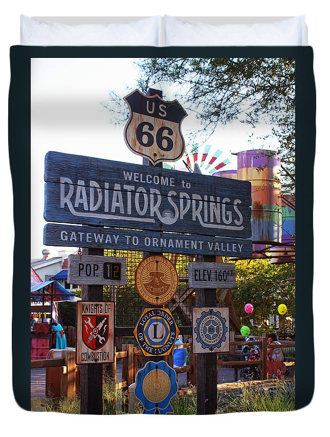 Disney California Adventure Duvet Cover featuring the photograph Welcome To Radiator Springs by Tommy Anderson