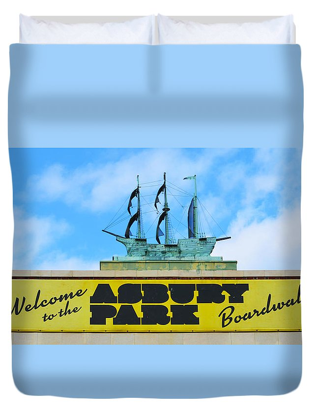 Welcome Duvet Cover featuring the photograph Welcome To The Asbury Park Boardwalk by Bill Cannon