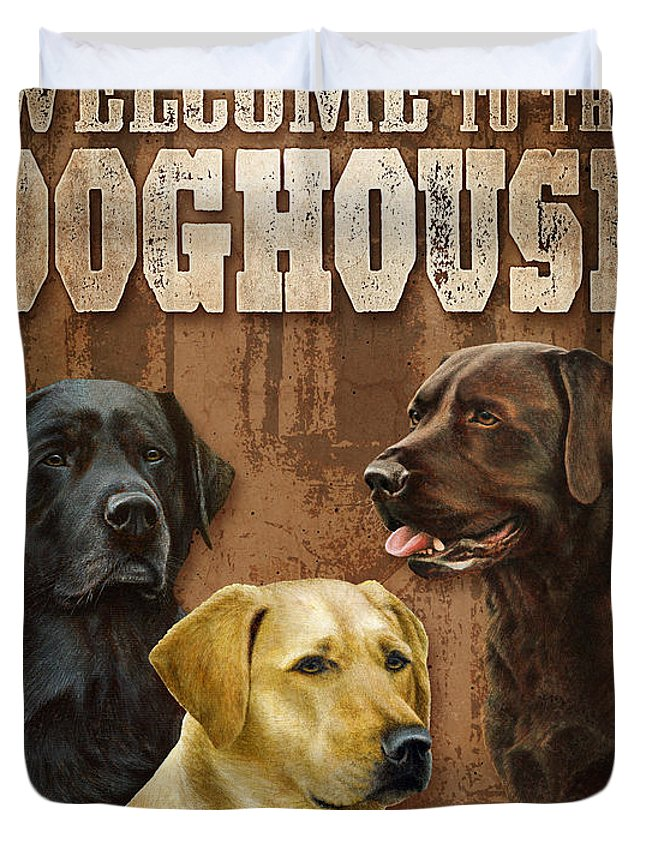 Nigel Hemmin Duvet Cover featuring the painting Welcome To The Dog House by JQ Licensing