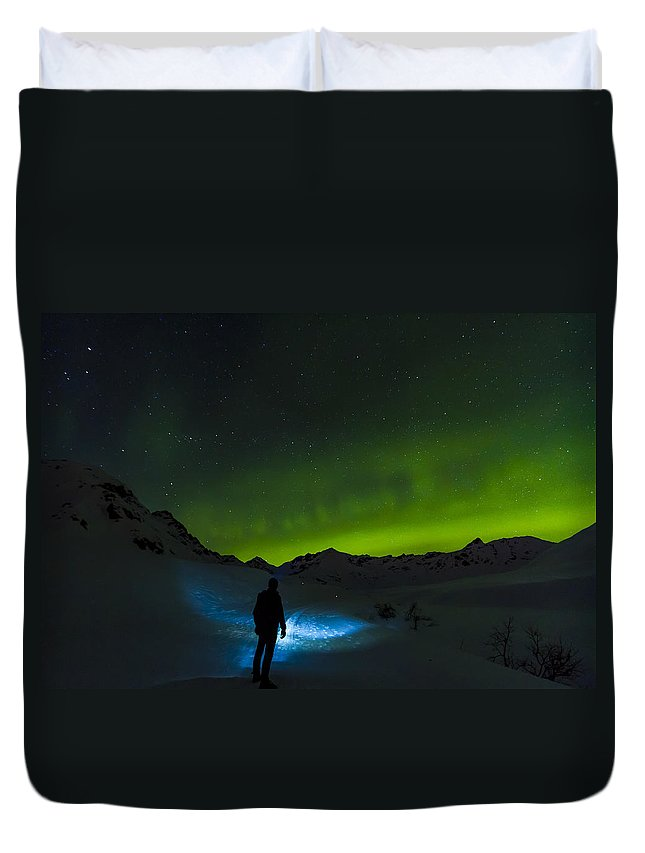 Aurora Duvet Cover featuring the photograph Welcomed In The Dark by Kyle Lavey