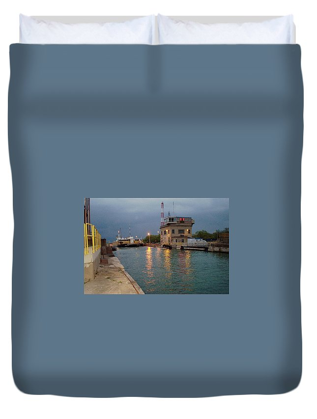 Canal Duvet Cover featuring the photograph Welland Canal Locks by Barbara McDevitt