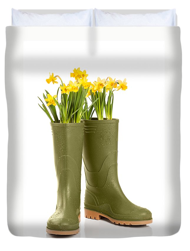 Spring Duvet Cover featuring the photograph Wellington Boots by Amanda Elwell