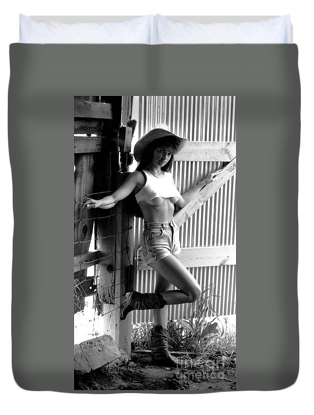 Model Duvet Cover featuring the photograph Wendy Barn Door-2 by Gary Gingrich Galleries