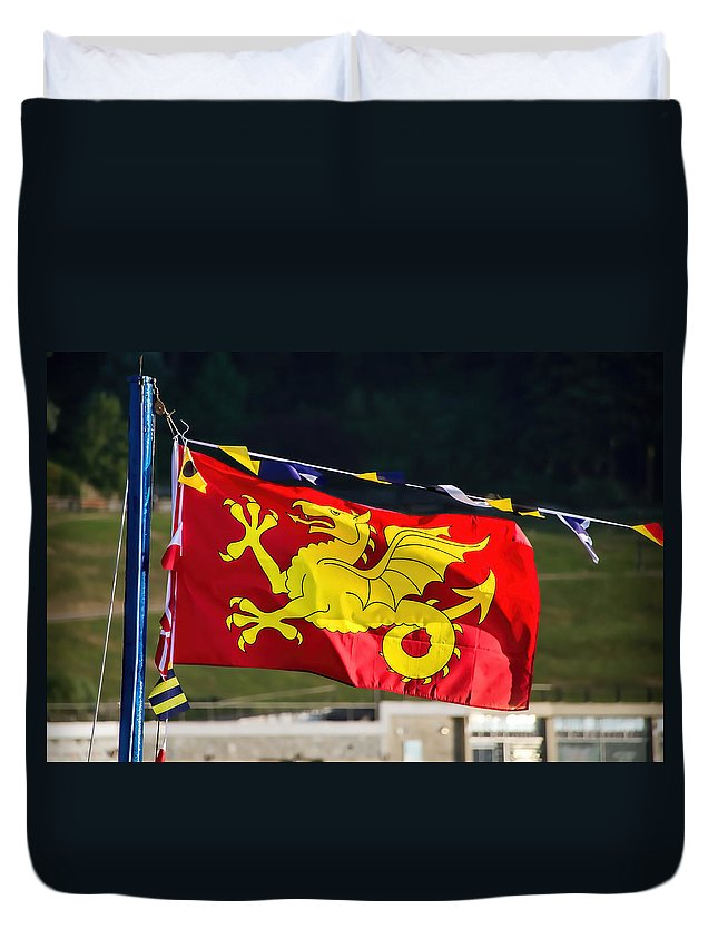 Wessex Duvet Cover featuring the photograph Wessex Wyvern Flag by Susie Peek
