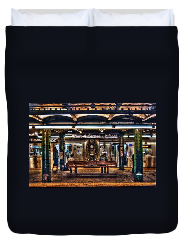 Manhattan Duvet Cover featuring the photograph West 4th Street Subway by Randy Aveille