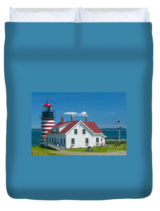 Clarence Holmes Duvet Cover featuring the photograph West Quoddy Head Light by Clarence Holmes