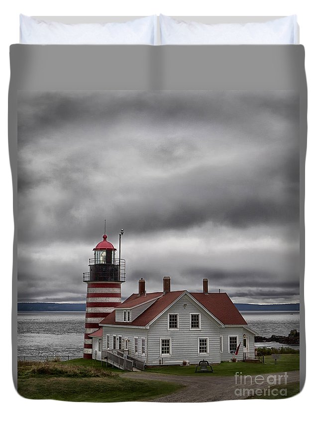 Lighthouse Duvet Cover featuring the photograph West Quoddy Lighthouse by Jerry Fornarotto