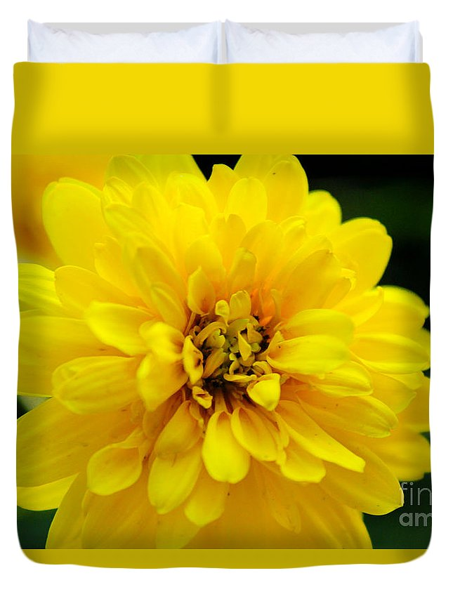 Yellow Marigold Duvet Cover featuring the photograph West Virginia Marigold by Melissa Petrey