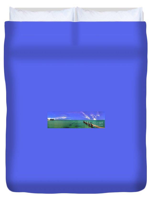 Western Australia; Beach Perth Panorama; Margaret River; Southern Hemisphere; Longest Wooden Jetty Duvet Cover featuring the photograph Western Australia Busselton Jetty by David Zanzinger