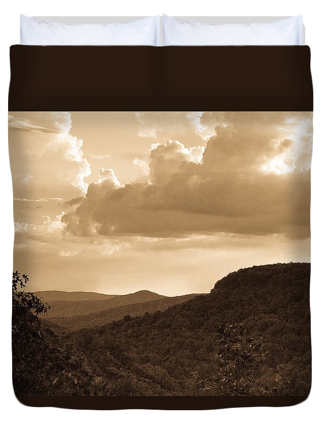 Western Duvet Cover featuring the photograph Western Mountain Scene In Sepia by Douglas Barnett
