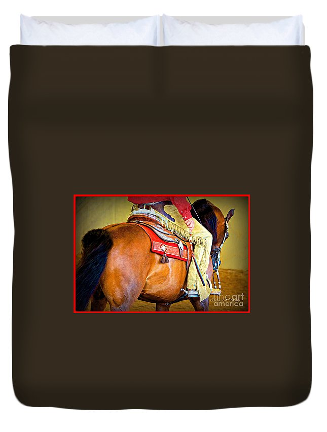 Horses Duvet Cover featuring the photograph Western Pleasure by Barbara Zahno