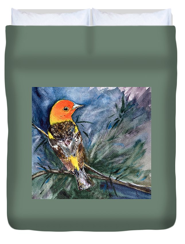 Western Tanager Duvet Cover featuring the painting Western Tanager At Mt. Falcon Park by Beverley Harper Tinsley