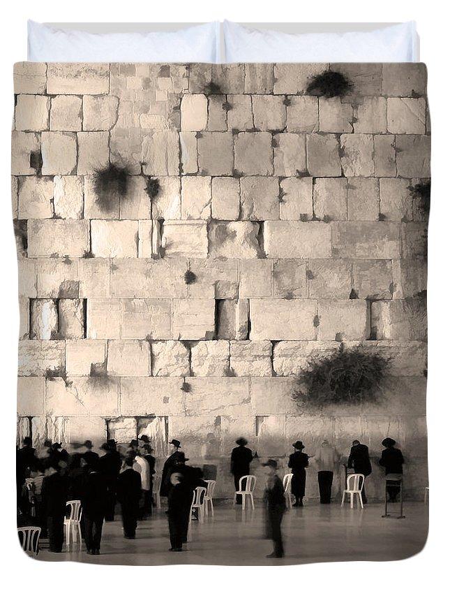 Orthodox Religous Jews Praying Jerusalem Israel Wailing Western Wall Art Photo Fresco Sepia Duvet Cover featuring the photograph Western Wall Photopaint One by Joseph Hedaya