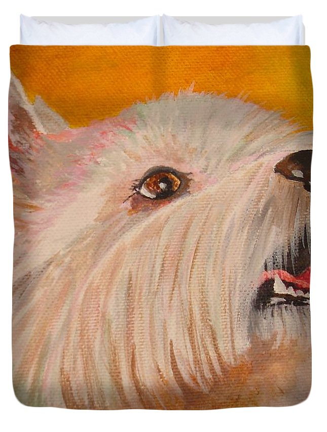 Dog Duvet Cover featuring the painting Westie Portrait by Taiche Acrylic Art