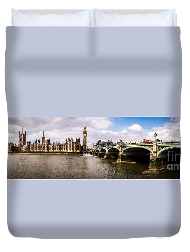 Westminster Duvet Cover featuring the photograph Westminster Pano Color by Matt Malloy