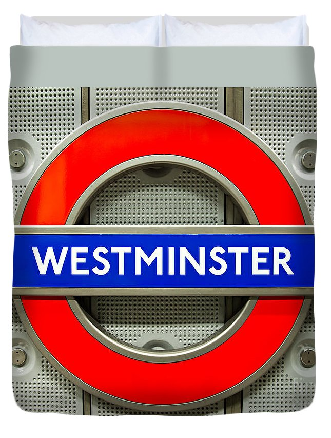Architecture Duvet Cover featuring the photograph Westminster Underground Logo by Luciano Mortula