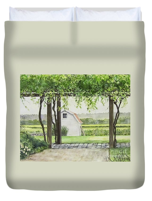 Westport Rivers Winery Duvet Cover featuring the painting Westport Rivers Winery by Carol Flagg