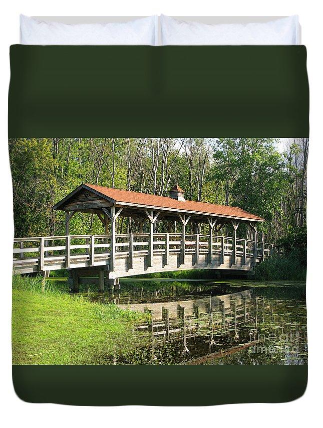 Bridge Duvet Cover featuring the photograph Wetland Footbridge by Ann Horn