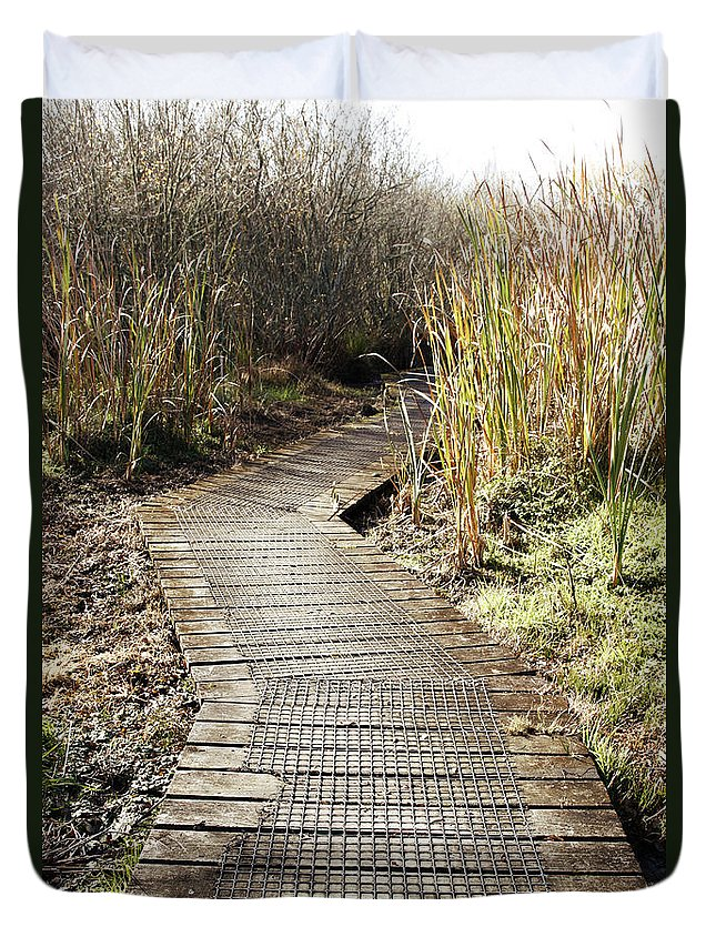 Boardwalk Duvet Cover featuring the photograph Wetland Walk by Les Cunliffe