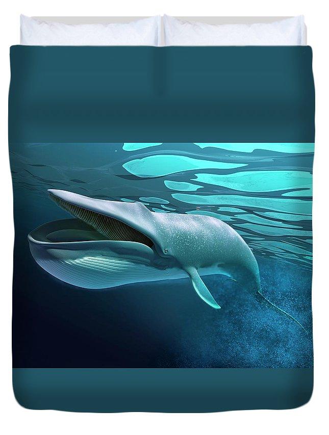 Underwater Duvet Cover featuring the digital art Whale, Artwork by Leonello Calvetti