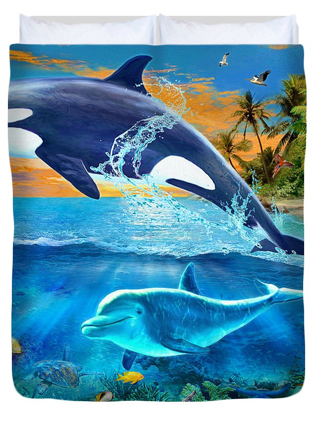 Killer Whale Duvet Cover featuring the digital art Whale by Jan Patrik Krasny