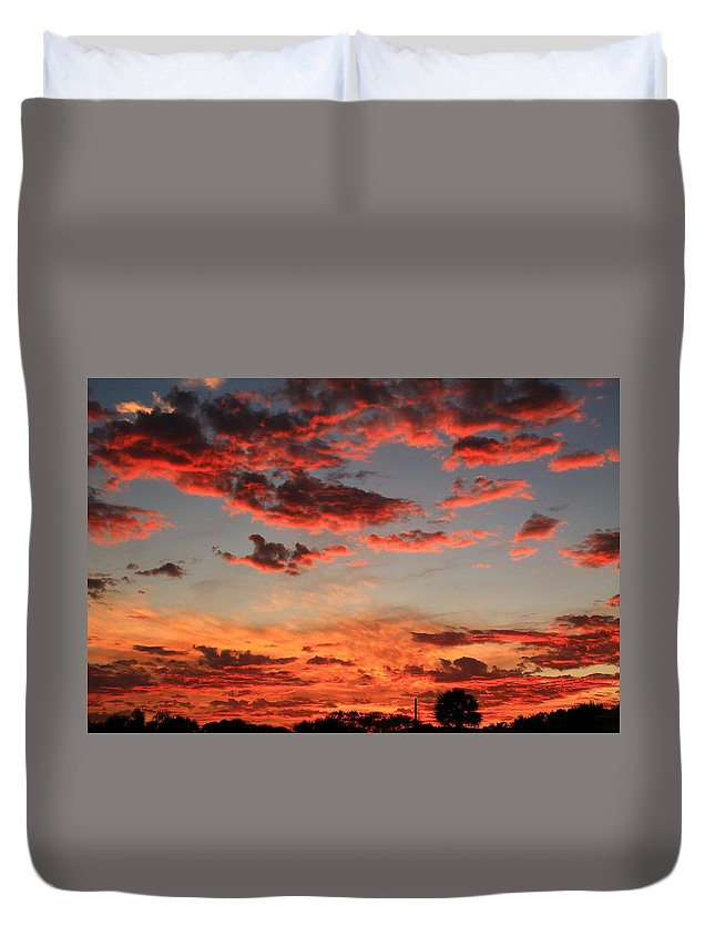 Sunset Duvet Cover featuring the photograph What Color by Catie Canetti