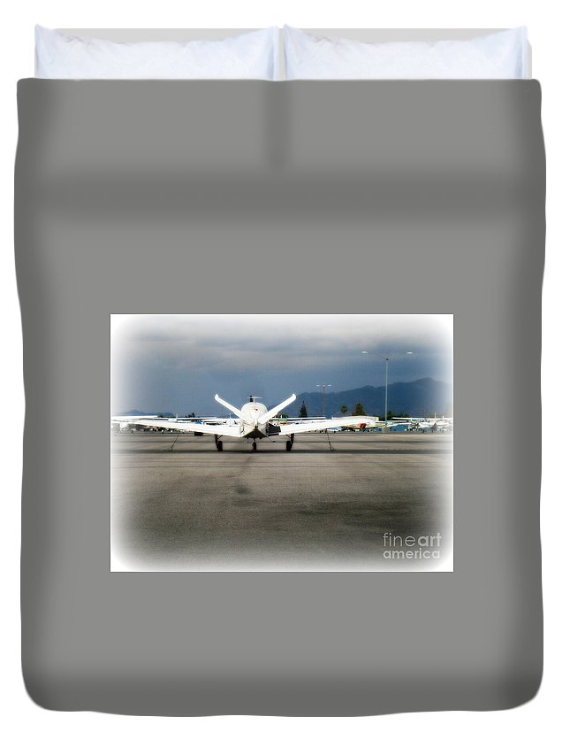 Aviation Duvet Cover featuring the photograph What fly girl is dreaming about by De La Rosa Concert Photography
