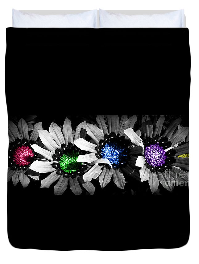 Flowers Duvet Cover featuring the photograph Colored Blind by Janice Westerberg