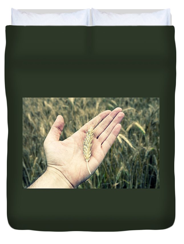 Photography Duvet Cover featuring the photograph Wheat by Samir Hanusa