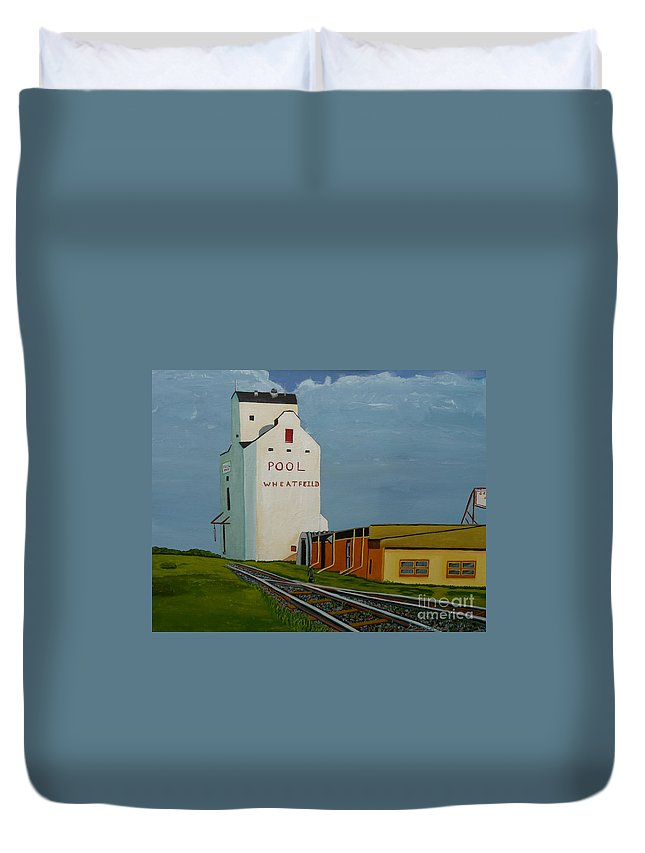 Grain Elevator Duvet Cover featuring the painting Wheatfield by Anthony Dunphy