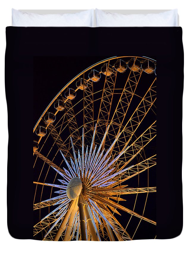 Colourful Duvet Cover featuring the photograph Wheel At Night Niagara Falls by Maria isabel Villamonte