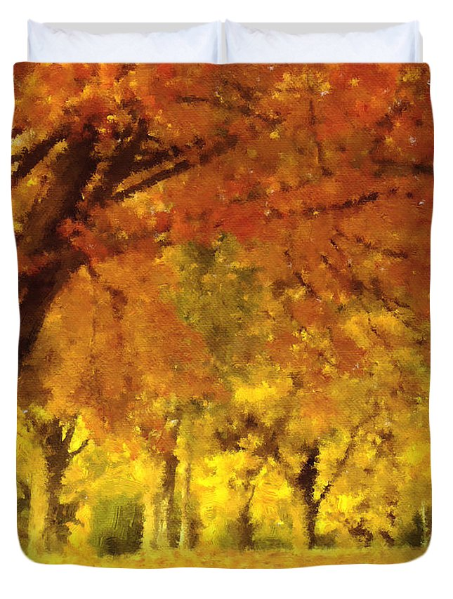 Impressionism Duvet Cover featuring the mixed media When Autumn Leaves Fall by Georgiana Romanovna