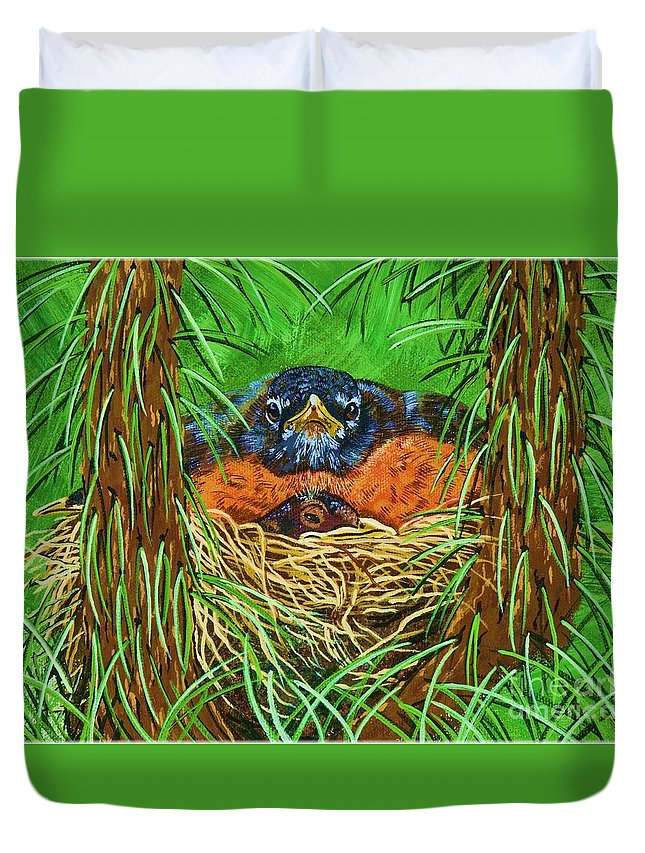 Robin Duvet Cover featuring the painting When Do They Leave by Jennifer Lake