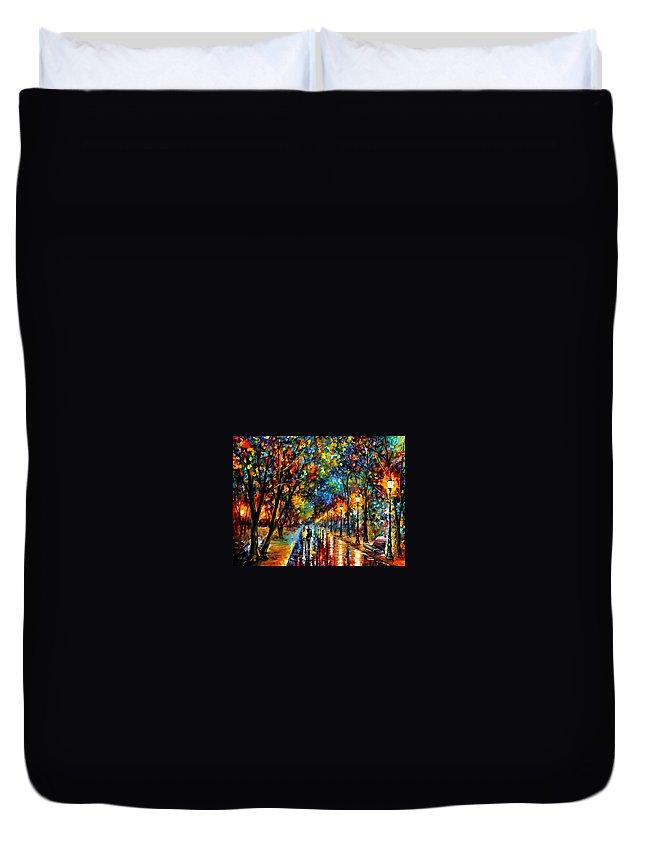 Leonid Afremov Duvet Cover featuring the painting When Dreams Come True - PALETTE KNlFE Landscape Park Oil Painting On Canvas By Leonid Afremov by Leonid Afremov