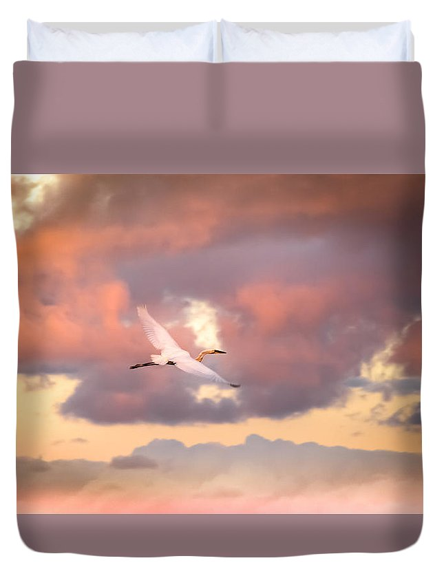 Egrets In Flight Duvet Cover featuring the photograph When Heaven Beckons by Karen Wiles