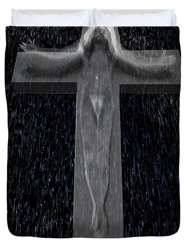Jesus Duvet Cover featuring the mixed media When I Am Just A Faded Memory by Giorgio Tuscani