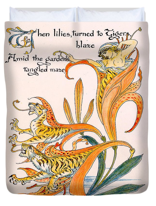 Illustration Duvet Cover featuring the painting When Lilies Turned To Tiger Blaze by Walter Crane