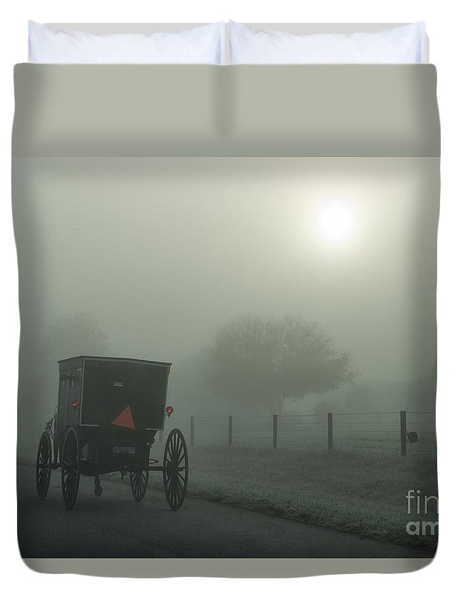 Amish Duvet Cover featuring the photograph When The Sun Is Hidden by David Arment