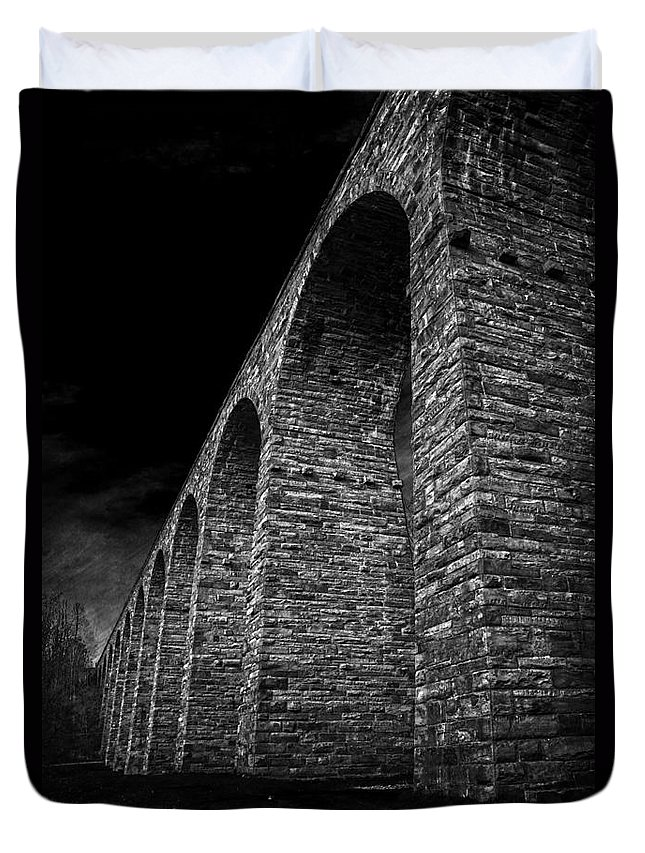 Viaduct Duvet Cover featuring the photograph When There Were Giants by Debra Fedchin