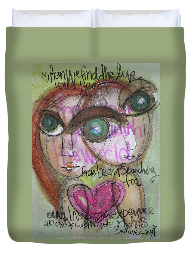 Heart Duvet Cover featuring the painting When We Find Love by Laurie Maves ART